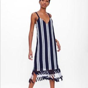 Zara crochet striped dress v Neck